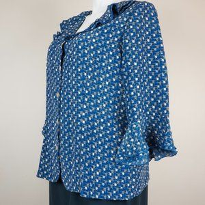 Blair Tops - Blair Button Down Shirt Ruffle Neck Flounce Sleeve